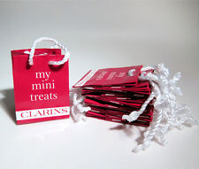 "Lot of 12 CLARINS ""My Mini Treats"" Baggies  Red Bag Small Tiny Gift Bags 3""x3.5"""