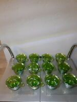 "Old Indiana Lime Green Carnival Glass Harvest Grape 2.5"" Punch Cups lot of 12"