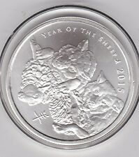 YEAR OF THE SHEEP 2015 ONE TROY OUNCE 999 SILVER ROUND IN CAPSULE