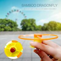Kids Outdoor Toy Hand Twisting Flying Saucer Throw Catch Disc Dragonfly Launcher