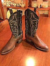 TONY LAMA Mens Cowboy Boots Leather Brown Black 7.5 D Western Rodeo 6171