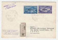 STORIA POSTALE 1951 TRIESTE A MONTECASSINO L.20+55 SU FDC VIAGGIATA Z/3838