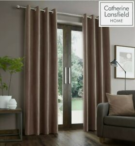 """Catherine Lansfield Faux Suede Eyelet Ring Top Fully Lined Curtains Mink 66x90"""""""