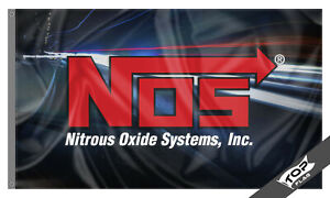 NOS Flag Banner 3x5 ft Nitrous Oxide Systems Motorsport Cave Man Racing