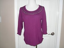 "New Chico's Nikki Necklace Top/Tee 3/4"" Sleeve Fuchsia Berry size 1=10/12 Medium"