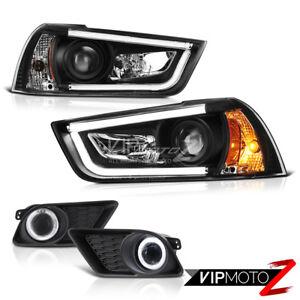 2011 2012 2013 2014 Dodge Charger Black Projector Headlights Foglights Halo DRL