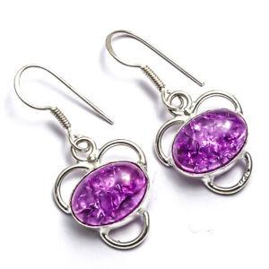 "Designer Purple Crackle Quartz Handmade Ethnic Style Jewelry Earring 1.48"" LL"
