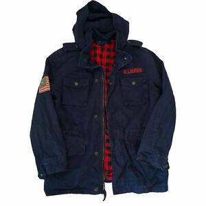 Polo Ralph Lauren Utility Jacket Check Plaid American Flag Patch Boys L 14-16