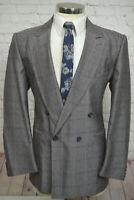 Authentic VINTAGE Mens Purple Overcheck Pleated Front 2 Piece Suit 40R 35Wx31L
