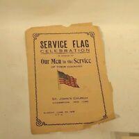 St John's Church Kingsbridge Bronx NY Service Flag WWI Celebration Program Vtg