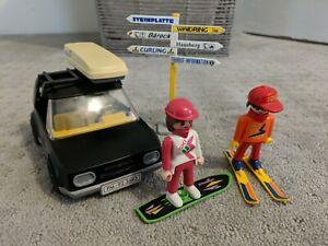 Playmobil Vintage #3693 Yr 1992 Black Car and Skier, Snowborder