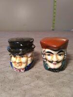 Miniature Toby Porcelain Salt And Pepper Shakers Original Vintage  Hand-painted