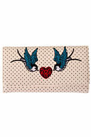 Off White Vintage Retro Swallows Polka Dots Rockabilly Wallet By Banned Apparel