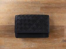 BOTTEGA VENETA black nero woven intrecciato leather card case authentic