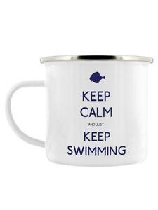 Mug Keep Calm and Just Keep Swimming Enamel White