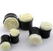PAIR-Horn w/White Rose Bone Double Flare Plugs 25mm/1 Gauge Body Jewelry