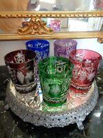 5 AJKA MARSALA ROCKS DOF WHISKEY GLASSES CASED CRYSTAL CUT TO CLEAR MULTI CLOR