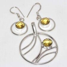 Citrine 925 Silver Plated Handmade Pendant Earrings Set Ethnic Jewelry GW