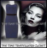 Kate Moss Topshop Rare 40s 50s Petrol Blue Wiggle Dress Vintage Starlet UK 8 10