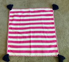 "POTTERY BARN KIDS Stripe Tassel Pillow Sham Bright Pink Navy Blue 17""x17"" NWOT"