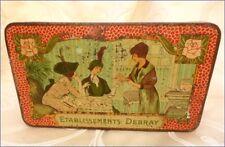 Art Déco Ancienne Boite en Tole Pub Etablissements Debray avec Personnages 1920