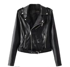 UK Womens Ladies PU Leather Belted Zipped Motorcycle Biker Jacket Black XL NEW