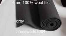 3-4mm thick 100% WOOL FELT FABRIC GREY