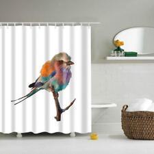 Polyester Shower Curtain Bath Hooks Set Hanging Panel Fabric Bird Print