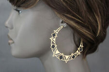 New Women Earrings Set Fashion Jewelry Gold Metal Black Big Half Moon Hoop Retro