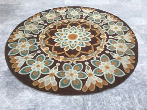 Vintage Floral Handmade Aubusson Round Rug Needle Point Brown Wool Area Rug 8x8