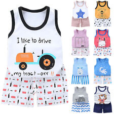 Toddler Kid Baby Girls Boys Clothes Set Vest Tops + Shorts Pants Outfits Summer