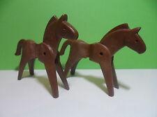 PLAYMOBIL – 2 chevaux marron foncé / Horse / 3299 3037 3652 3485 3245 3244