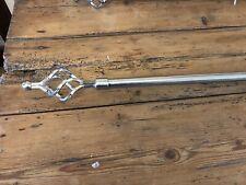 Stainless Steel Effect Extendable Curtain Poles With Spiral Ends