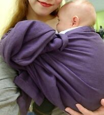 custom double layer purple ring sling baby carrier with gold rings.