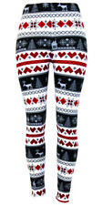 Leggings Hearts Reindeer Snowflake Super Soft PLUS SIZE Red Black From USA