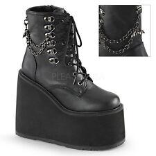 Demonia Swing 101 Ladies Hi Platform Wedge Goth Punk Chain Black Boots