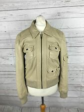 Women's Next Leather Bomber Jacket -  UK10 - Beige - Great Condition