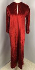 HALSTON IV Dorian Vtg  Velvet Dress V-Neck Holiday Hostess Caftan Dress Sz O/S