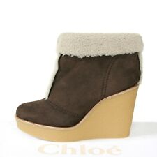 CHLOE shearling lined brown suede wedge heel booties Lolina ankle boots 40 NEW