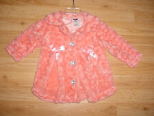Girls-Little Lass-Pink Peach Plush Fur Roses Jacket-Light weight Coat-2T