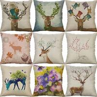 "18"" Cotton Linen Christmas deer leaf Cushion Cover Throw Pillow Case Home Decor"
