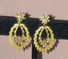 Vintage 14K SOLID YELLOW GOLD Carved Leaf Earrings 2.5g
