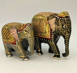 Hand Carved Gold Lacquer Painted Wooden Elephant Statue Figures Set