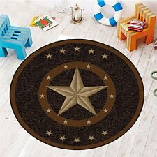 "6'6"" Round Texas Western Star Rustic Cowboy Decor Brown Black - 800"