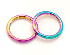 """Pair 14g 3/8"""" (10mm) rainbow titanium plated segment rings lip, eyebrows, tragus"""
