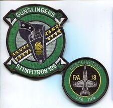 VFA-105 GUNSLIGERS US NAVY BOEING F-18 HORNET Fighter Squadron Jacket Patch Set