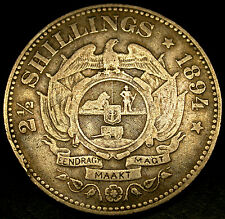 1894 SOUTH AFRICA 2 1/2 Shillings Key Date Boer War Sterling Silver Coin AMAZING