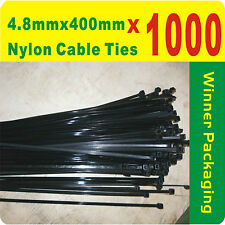 1000 x Black Nylon Cable Ties 4.8mmX 400mm (5 x400mm) Free Postage