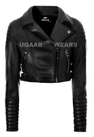 Ladies Womens Black Short Cropped Biker Real Soft Leather Jacket Hot Glam Jacket