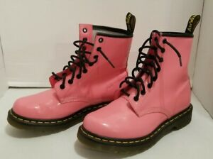Dr Martens Womens Patent Leather Boots Size 7 Acid Pink 1460 W Lace Up Doc VGC